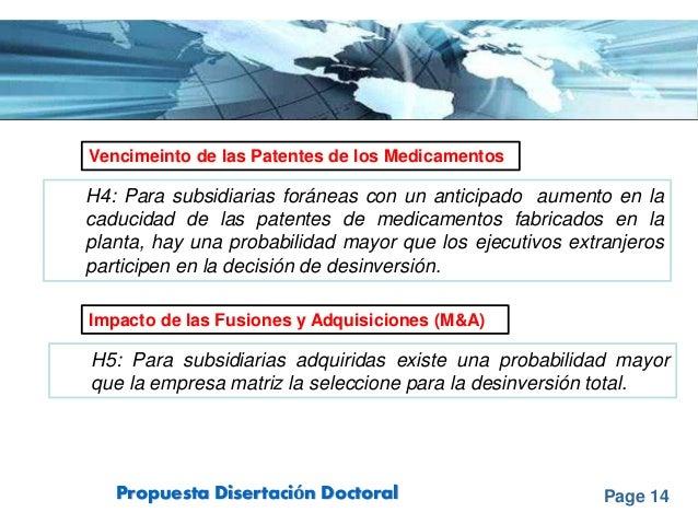 Page 14Propuesta Disertación Doctoral Vencimeinto de las Patentes de los Medicamentos Impacto de las Fusiones y Adquisicio...