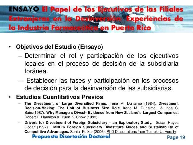 Page 19Propuesta Disertación Doctoral ENSAYO El Papel de los Ejecutivos de las Filiales Extranjeras en la Desinversión: Ex...