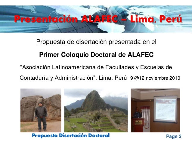 Page 2Propuesta Disertación Doctoral Presentación ALAFEC – Lima, Perú Propuesta de disertación presentada en el Primer Col...