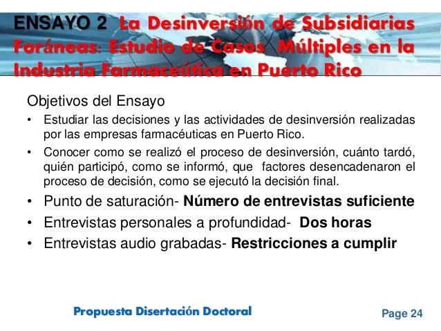Page 24Propuesta Disertación Doctoral ENSAYO 2 La Desinversión de Subsidiarias Foráneas: Estudio de Casos Múltiples en la ...