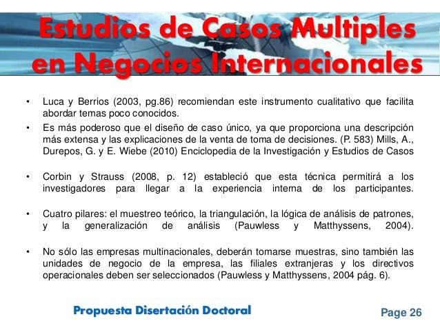 Page 26Propuesta Disertación Doctoral Estudios de Casos Multiples en Negocios Internacionales • Luca y Berrios (2003, pg.8...