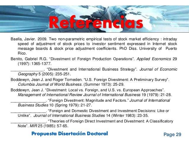 Page 29Propuesta Disertación Doctoral Referencias Baella, Javier. 2009. Two non-parametric empirical tests of stock market...