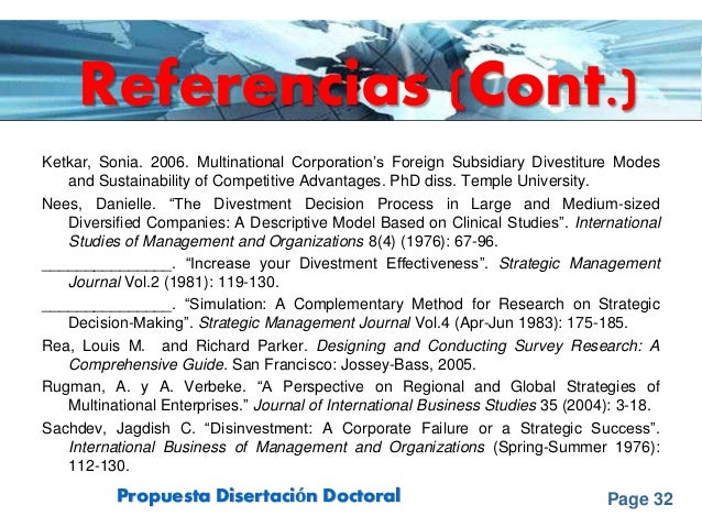 Page 32Propuesta Disertación Doctoral Ketkar, Sonia. 2006. Multinational Corporation's Foreign Subsidiary Divestiture Mode...