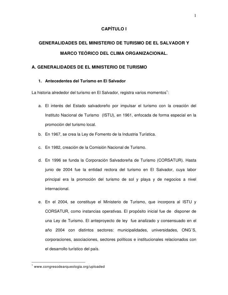 1                                             CAPÍTULO I      GENERALIDADES DEL MINISTERIO DE TURISMO DE EL SALVADOR Y    ...