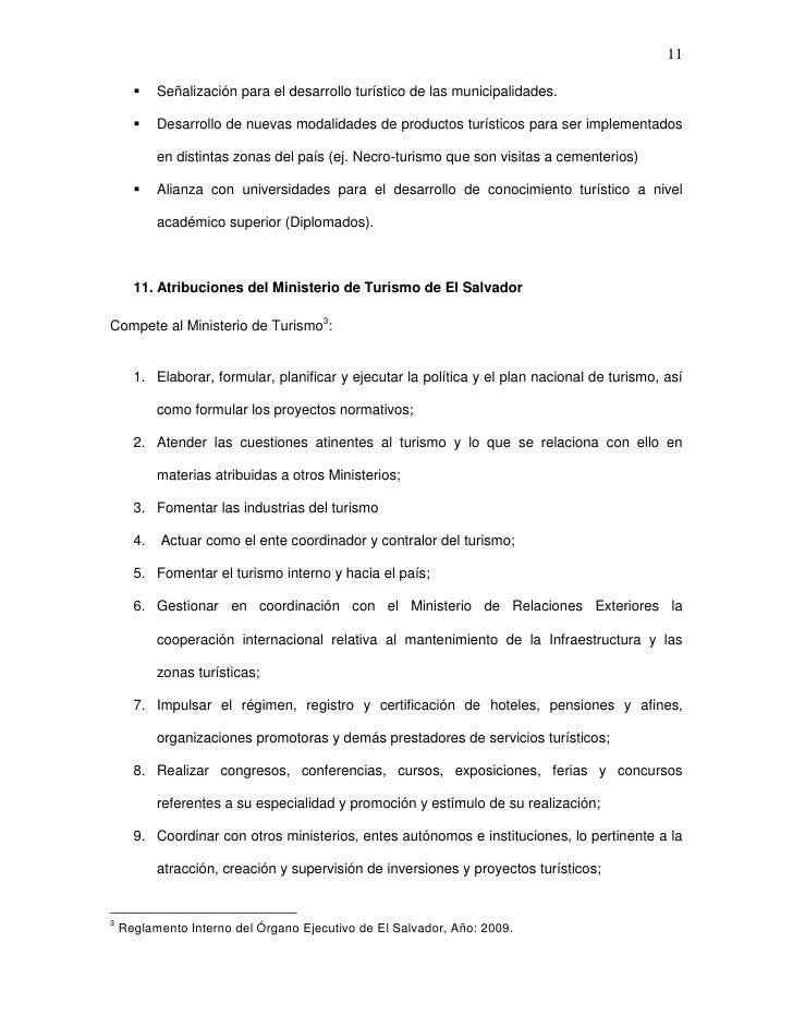 11          Señalización para el desarrollo turístico de las municipalidades.          Desarrollo de nuevas modalidades ...