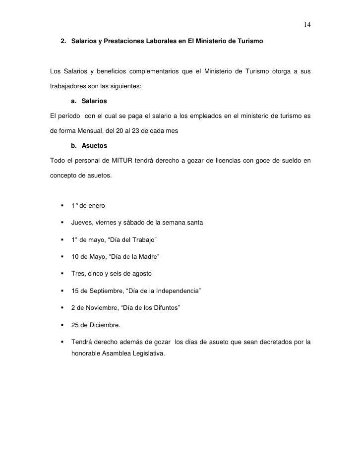 14   2. Salarios y Prestaciones Laborales en El Ministerio de TurismoLos Salarios y beneficios complementarios que el Mini...