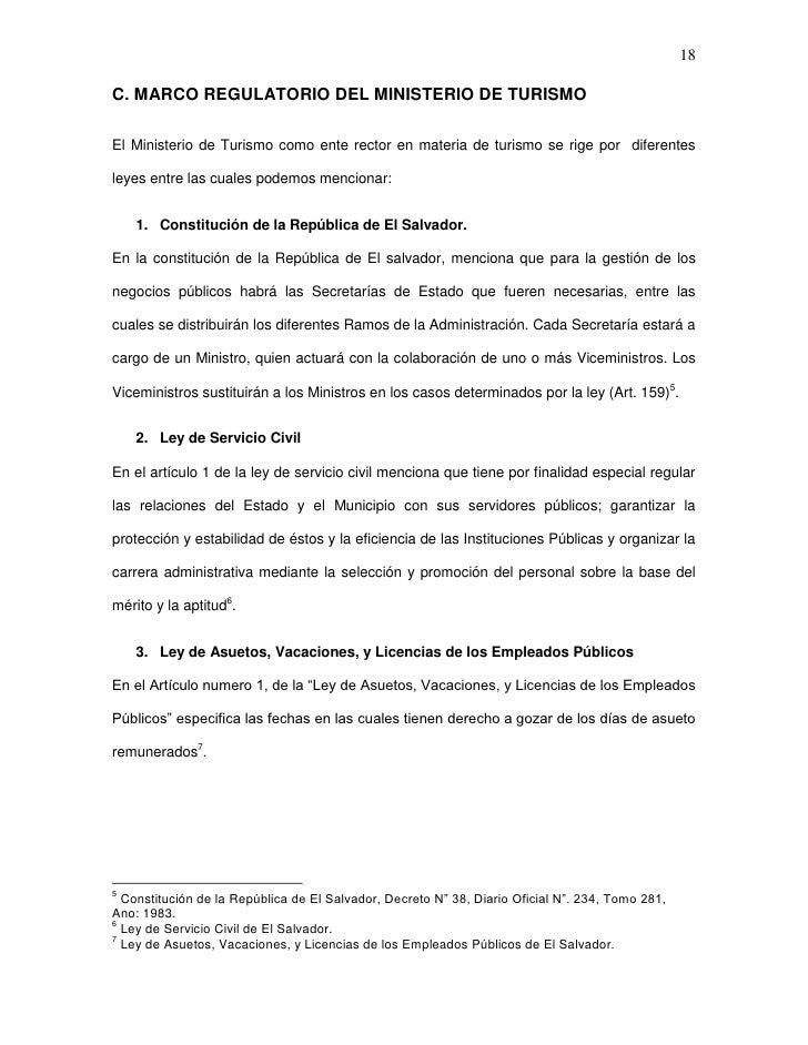 18C. MARCO REGULATORIO DEL MINISTERIO DE TURISMOEl Ministerio de Turismo como ente rector en materia de turismo se rige po...