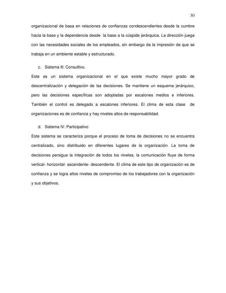 30organizacional de basa en relaciones de confianzas condescendientes desde la cumbrehacia la base y la dependencia desde ...