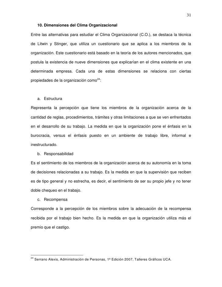 31      10. Dimensiones del Clima OrganizacionalEntre las alternativas para estudiar el Clima Organizacional (C.O.), se de...
