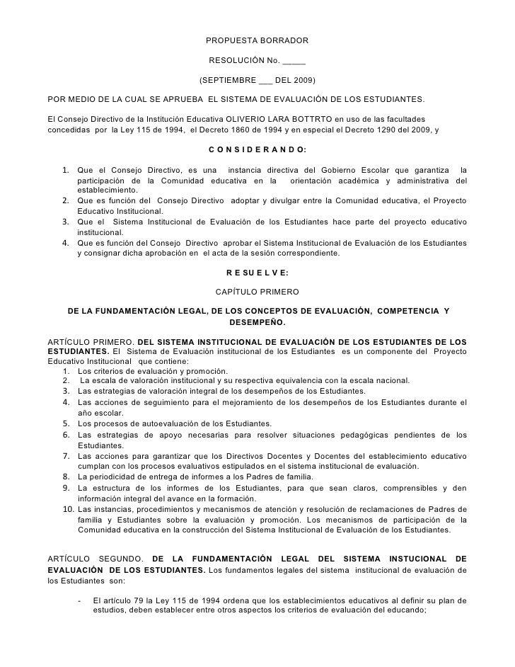 PROPUESTA BORRADOR                                           RESOLUCIÓN No. _____                                        (...