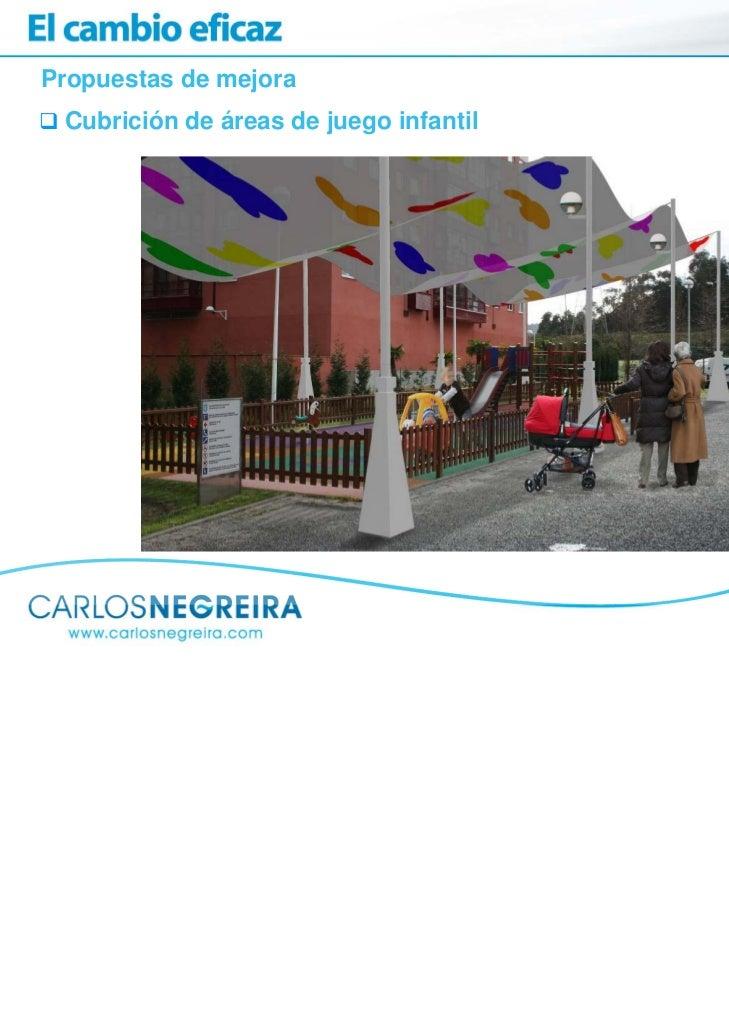 Propuestas de mejora Cubrición de áreas de juego infantil