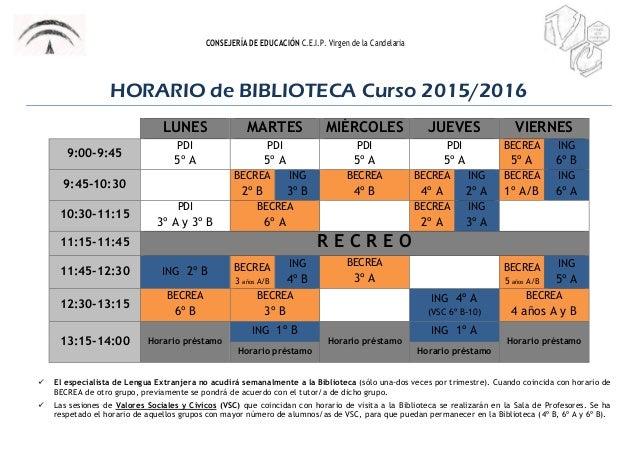 CONSEJERÍA DE EDUCACIÓN C.E.I.P. Virgen de la Candelaria HORARIO de BIBLIOTECA Curso 2015/2016 LUNES MARTES MIÉRCOLES JUEV...