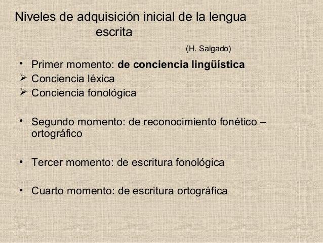 Niveles de adquisición inicial de la lengua escrita (H. Salgado) • Primer momento: de conciencia lingüística  Conciencia ...