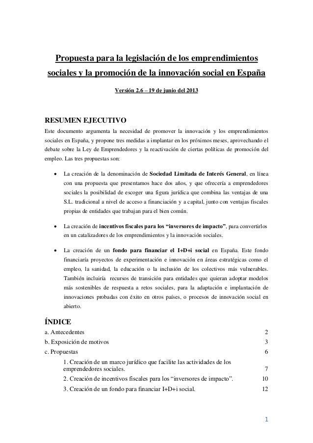 1Propuesta para la legislación de los emprendimientossociales y la promoción de la innovación social en EspañaVersión 2.6 ...