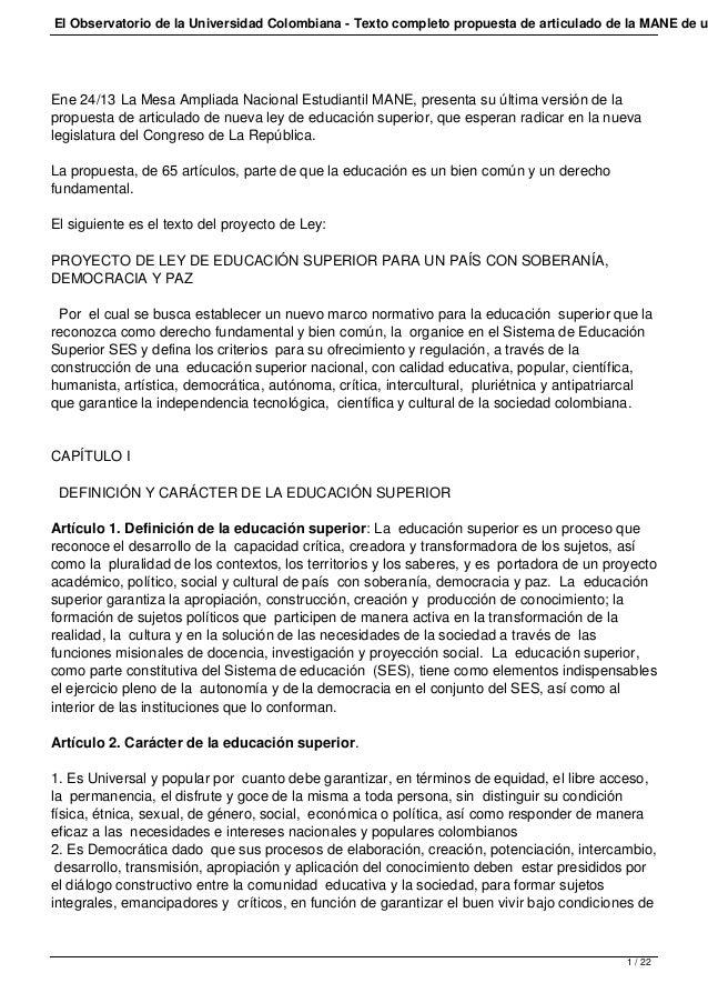 El Observatorio de la Universidad Colombiana - Texto completo propuesta de articulado de la MANE de uEne 24/13 La Mesa Amp...