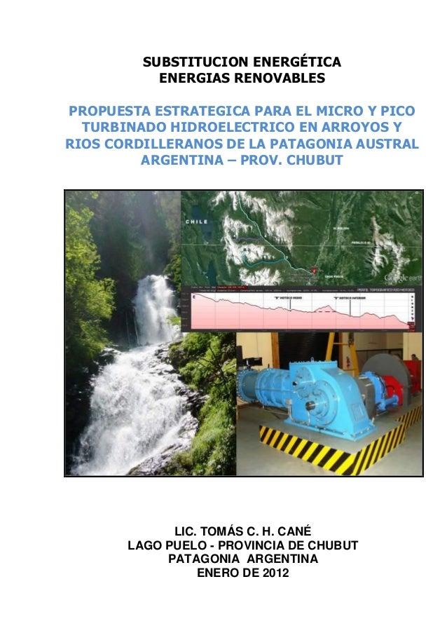 SUBSTITUCION ENERGÉTICA           ENERGIAS RENOVABLESPROPUESTA ESTRATEGICA PARA EL MICRO Y PICO  TURBINADO HIDROELECTRICO ...