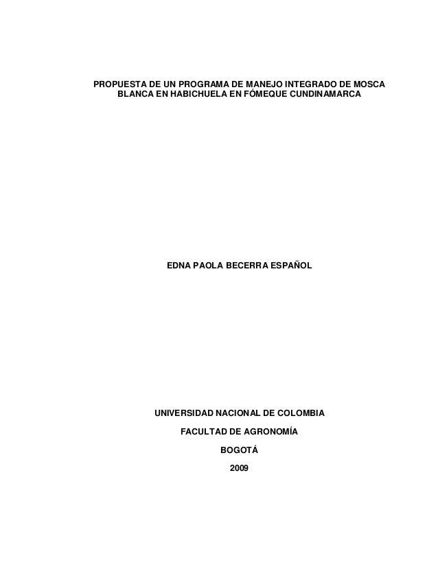 PROPUESTA DE UN PROGRAMA DE MANEJO INTEGRADO DE MOSCA    BLANCA EN HABICHUELA EN FÓMEQUE CUNDINAMARCA             EDNA PAO...