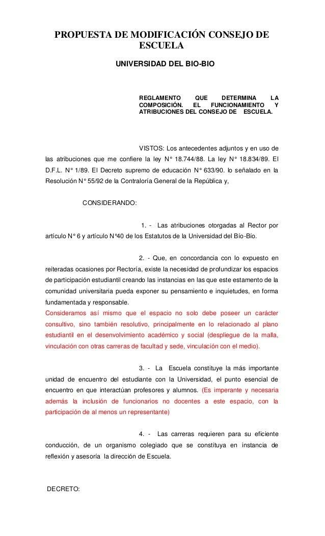 PROPUESTA DE MODIFICACIÓN CONSEJO DE                 ESCUELA                         UNIVERSIDAD DEL BIO-BIO              ...