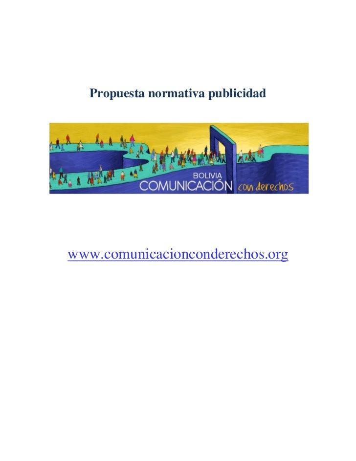 Propuesta normativa publicidadwww.comunicacionconderechos.org