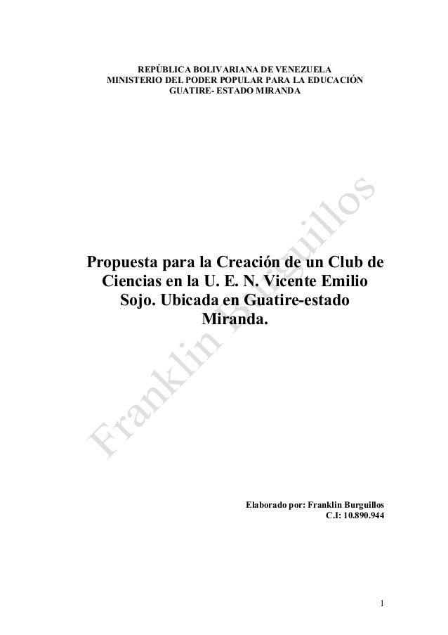 REPÚBLICA BOLIVARIANA DE VENEZUELA MINISTERIO DEL PODER POPULAR PARA LA EDUCACIÓN GUATIRE- ESTADO MIRANDA Propuesta para l...