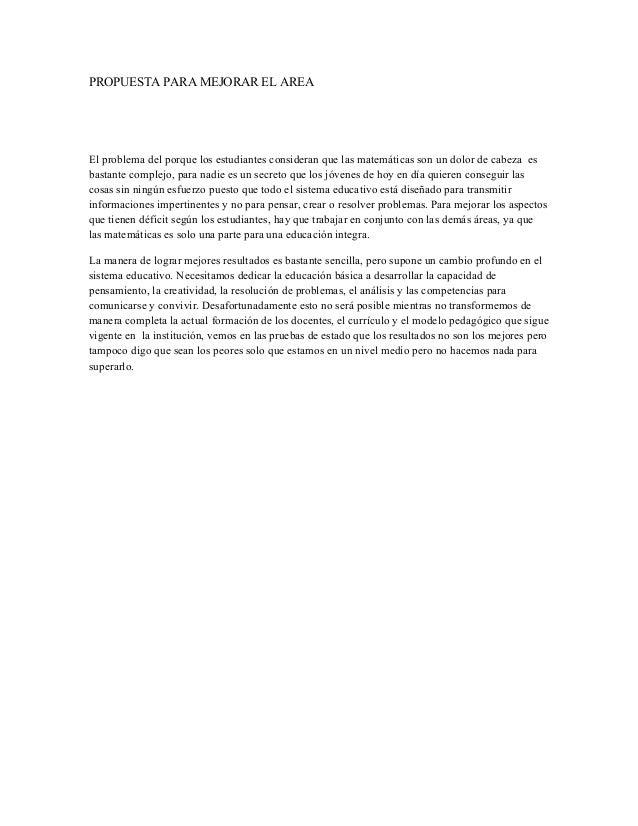 Propuesta para mejorar el area de las matematicas Slide 3