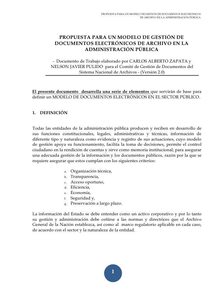 PROPUESTA PARA UN MODELO DE GESTIÓN DE DOCUMENTOS ELECTRÓNICOS                                                            ...