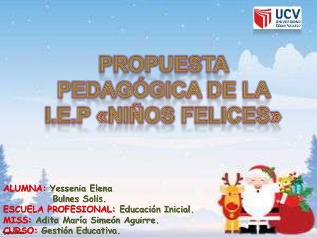 ALUMNA: Yessenia Elena Bulnes Solis. ESCUELA PROFESIONAL: Educación Inicial. MISS: Adita María Simeón Aguirre. CURSO: Gest...