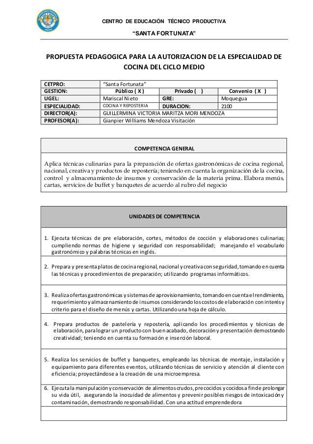 Propuesta pedagogica 2017 cocina y reposteria Slide 2