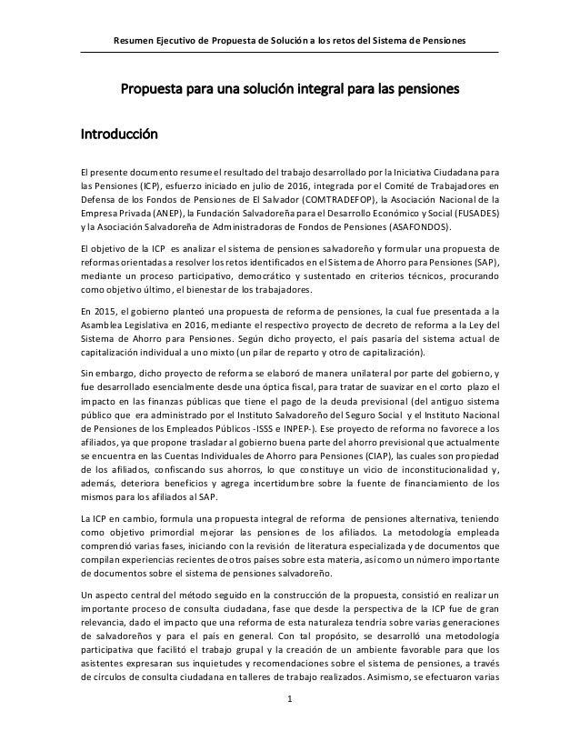 resumen ejecutivo de propuesta de solución a los retos del sistema de