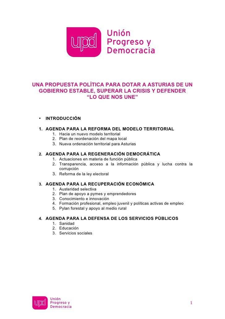 Unión                                           Progreso y                                           DemocraciaUNA PROPUES...
