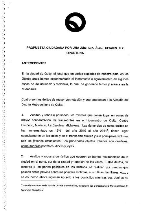 Propuesta por la ciudadanía para la Reforma al Código de Procedimiento Penal