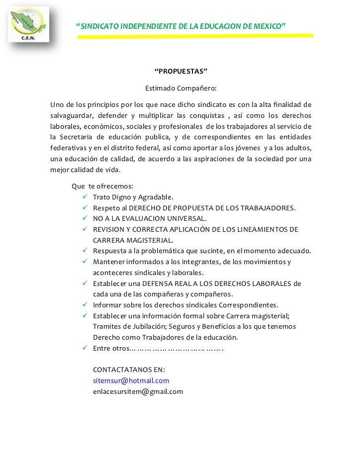 """""""SINDICATO INDEPENDIENTE DE LA EDUCACION DE MEXICO""""                                 """"PROPUESTAS""""                          ..."""