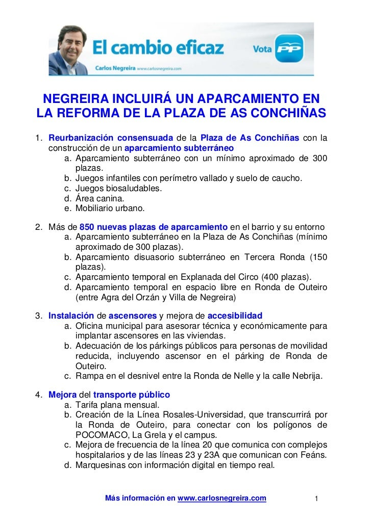 NEGREIRA INCLUIRÁ UN APARCAMIENTO ENLA REFORMA DE LA PLAZA DE AS CONCHIÑAS1. Reurbanización consensuada de la Plaza de As ...