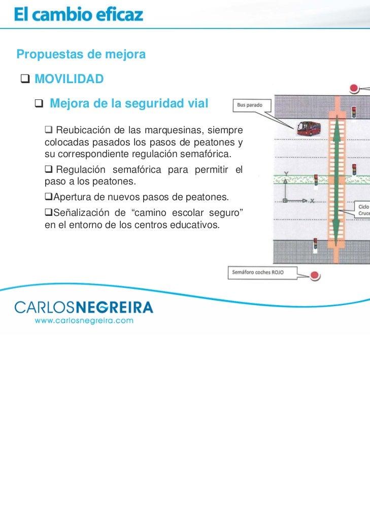 Propuestas de mejora  MOVILIDAD     Mejora de la seguridad vial      Reubicación de las marquesinas, siempre    colocadas ...