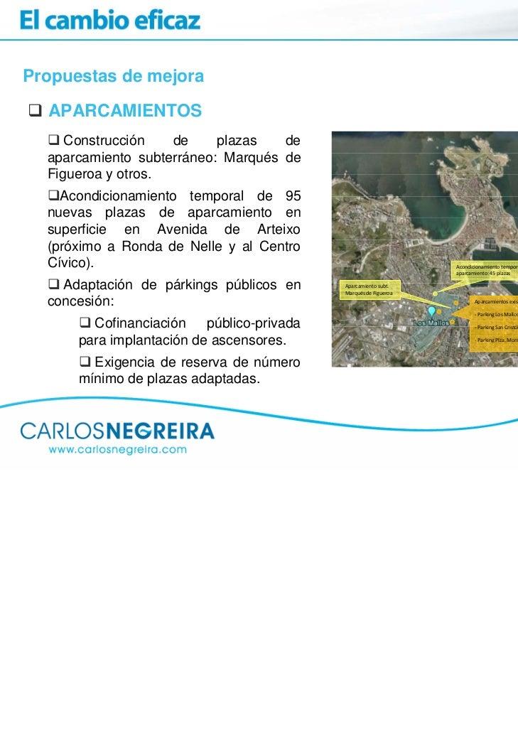 Propuestas de mejora  APARCAMIENTOS     Construcción   de     plazas   de  aparcamiento subterráneo: Marqués de  Figueroa ...