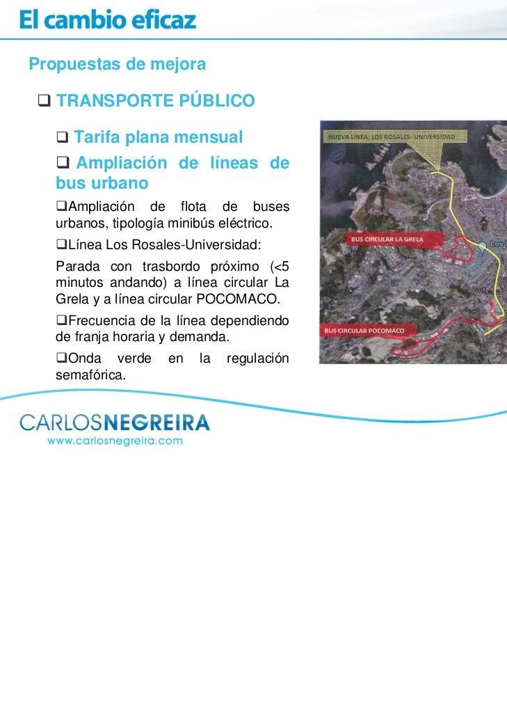 Propuestas de mejora   TRANSPORTE PÚBLICO     Tarifa plana mensual     Ampliación de líneas de   bus urbano     Ampliación...