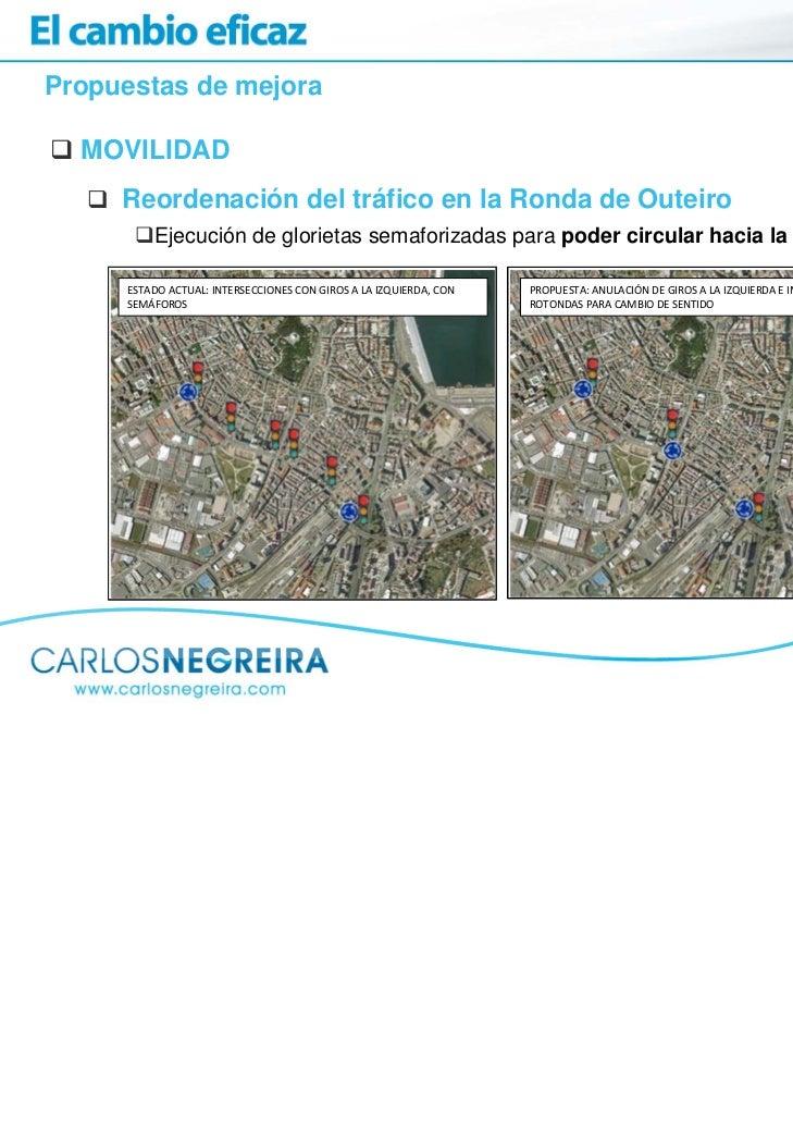 Propuestas de mejora  MOVILIDAD     Reordenación del tráfico en la Ronda de Outeiro         Ejecución de glorietas semafor...