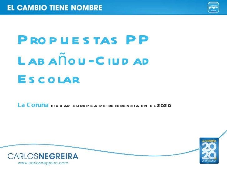 La Coruña  ciudad europea de referencia en el 2020 Propuestas PP  Labañou-Ciudad Escolar