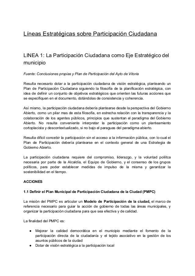 LíneasEstratégicassobreParticipaciónCiudadana  LINEA 1: La Participación Ciudadana como Eje Estratégico del    ...