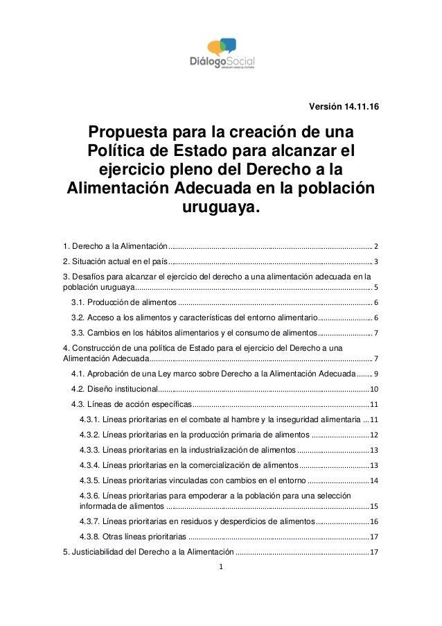 1 Versión 14.11.16 Propuesta para la creación de una Política de Estado para alcanzar el ejercicio pleno del Derecho a la ...