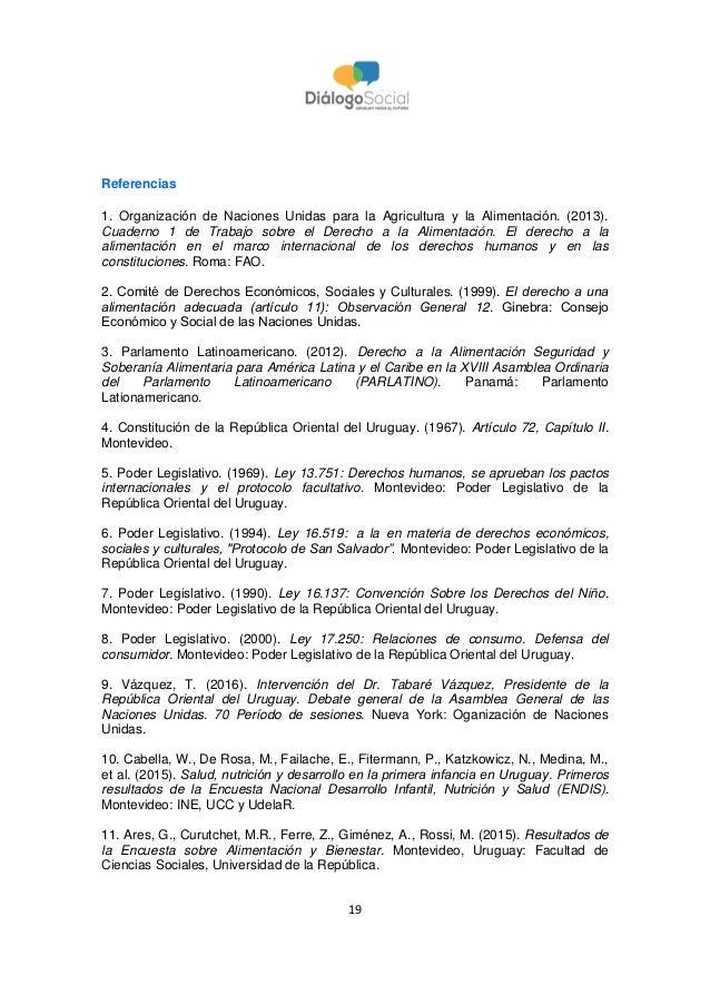 19 Referencias 1. Organización de Naciones Unidas para la Agricultura y la Alimentación. (2013). Cuaderno 1 de Trabajo sob...
