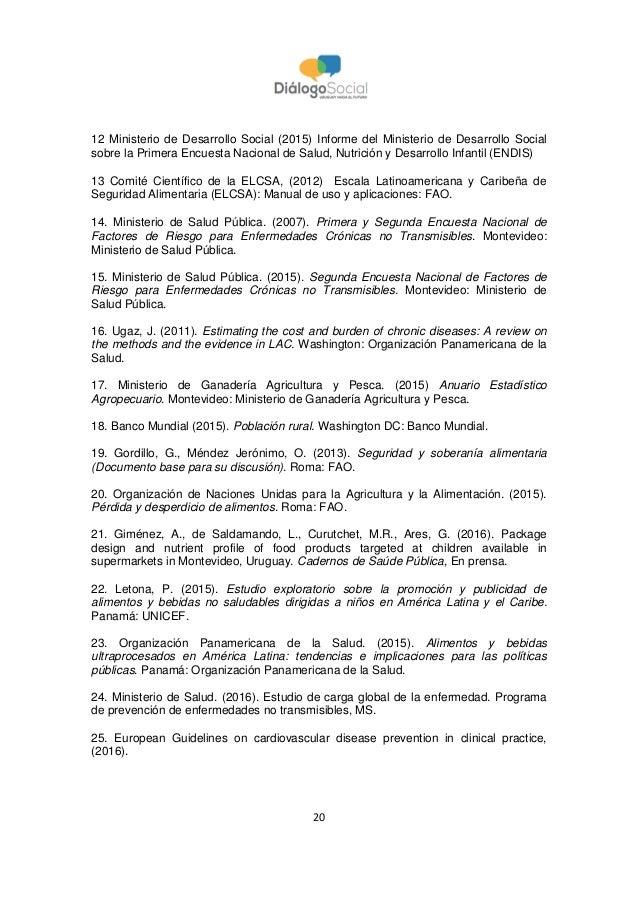 20 12 Ministerio de Desarrollo Social (2015) Informe del Ministerio de Desarrollo Social sobre la Primera Encuesta Naciona...