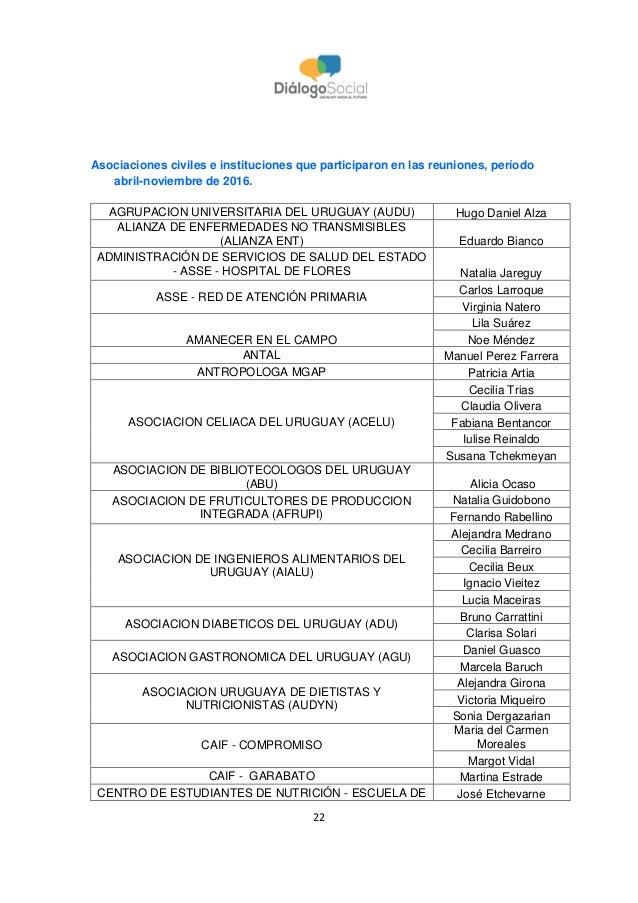 22 Asociaciones civiles e instituciones que participaron en las reuniones, período abril-noviembre de 2016. AGRUPACION UNI...