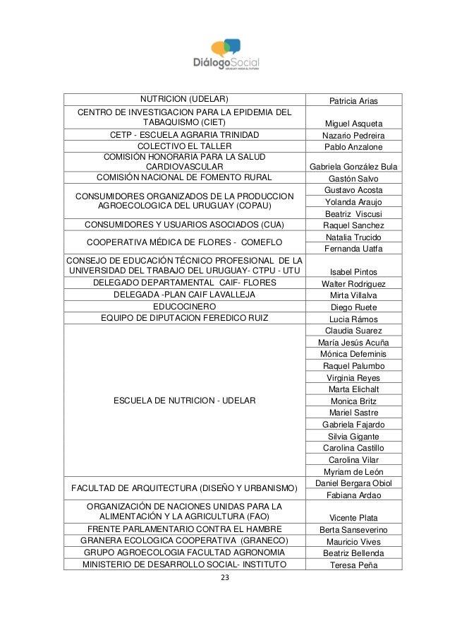23 NUTRICION (UDELAR) Patricia Arias CENTRO DE INVESTIGACION PARA LA EPIDEMIA DEL TABAQUISMO (CIET) Miguel Asqueta CETP - ...