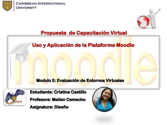 Propuesta de Capacitación Virtual Uso y Aplicación de la Plataforma Moodle  Modulo 5: Evaluación de Entornos Virtuales Est...
