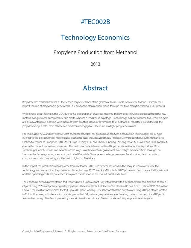 Technology Economics: Propylene from Methanol Slide 2