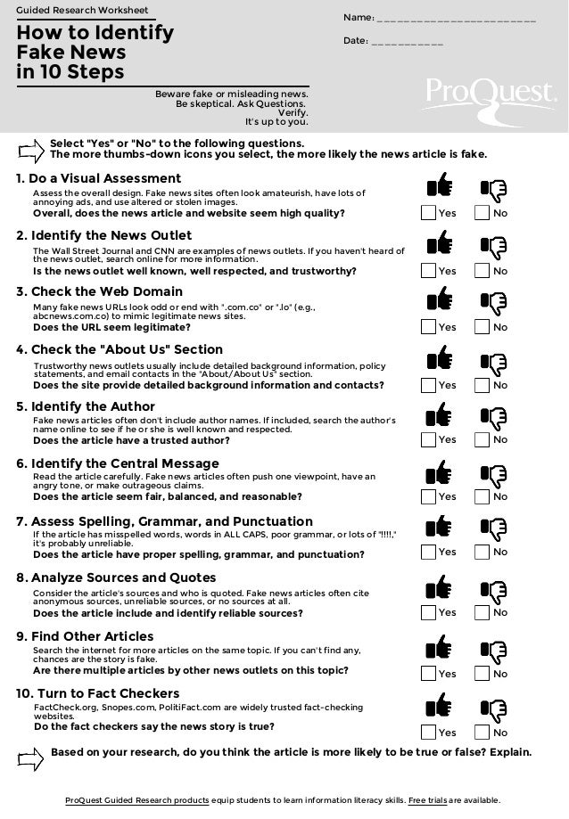 Fake News Worksheet By Proquest