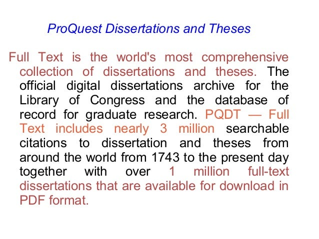 Proquest dissertations theses database