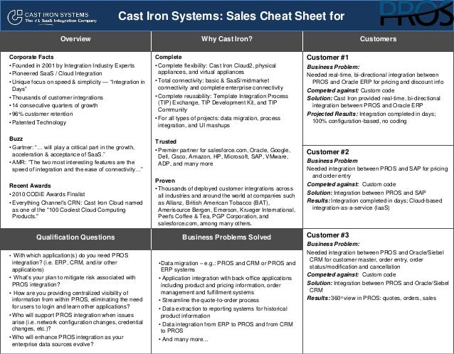 Cast Iron Systems Sales Cheat Sheet for PROS