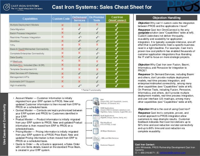 Cast Iron Systems Sales Cheat Sheet for PROS – Sales Contact Sheet Template